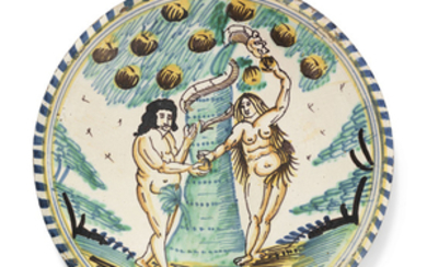 AN ENGLISH DELFT BLUE-DASH 'ADAM AND EVE' CHARGER, CIRCA 1660-80, PROBABLY LONDON