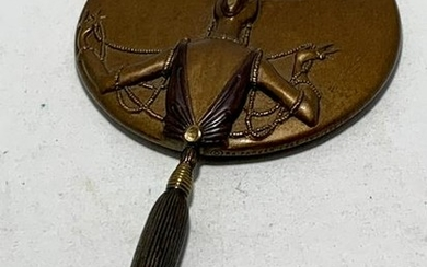 """ERTE SIGNED BRONZE """"ALL SAILS OUT"""" VANITY MIRROR"""