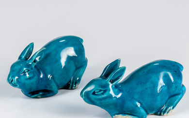 Pair of Export Turquoise-glazed Rabbits