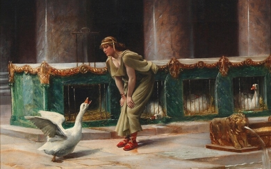Henri Paul Motte: Scene from ancient Rome with the sacred geese. Signed and dated Henri Motte 89. Oil on canvas. 32 × 46 cm.