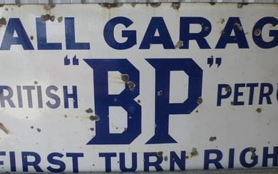 A large BP Hall Garage enamel sign,