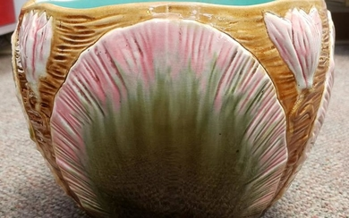 Late 19th Century French Majolica Lily Pad Jardiniere
