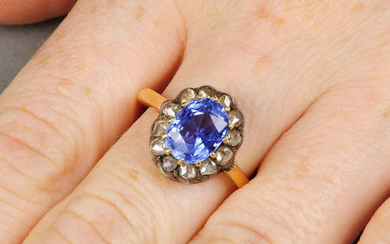A late Victorian, silver and 18ct gold Sri Lankan sapphire and rose-cut diamond cluster ring.