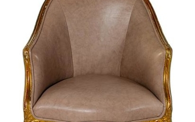 A Louis XV Style Giltwood Bergere