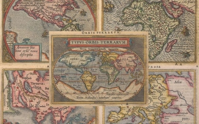 "Matching Set of Miniature Ortelius Maps, ""[Lot of 5] Typus Orbis Terrarum [and] Americae sive Novi Orbis Nova Descriptio [and] Africae Tabula Nova [and] Asia [and] Europa"", Ortelius/Galle"
