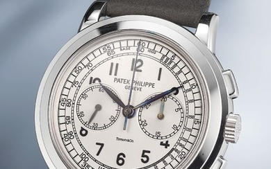 Patek Philippe, Ref. 5070 A highly rare and attractive white gold chronograph wristwatch with original certificate