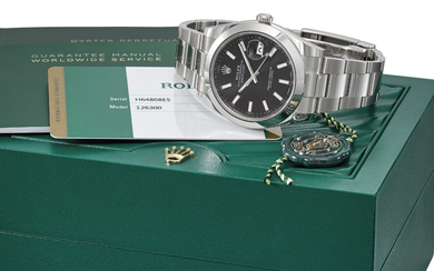 ROLEX. A STAINLESS STEEL AUTOMATIC WRISTWATCH WITH SWEEP CENTRE SECONDS, DATE, BRACELET, INTERNATIONAL GUARANTEE AND BOX, SIGNED ROLEX, OYSTER PERPETUAL, DATEJUST, DATEJUST 41 MODEL, REF. 126300, CASE NO. H64808E5, CIRCA 2018