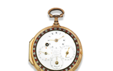 William Pybus, London. A gilt double dial consular case verge watch with day, date and moon phase indication