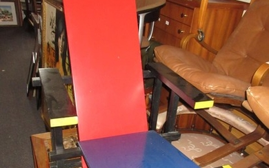 Cassina 635 Red and Blue chair designed by Gerrit Rietveld