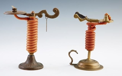 Two Metal Candle Jacks, 19th c., one of copper, the