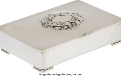 A Gundorph Albertus for Georg Jensen Silver and Wood Cigarette Box (mid-20th century)