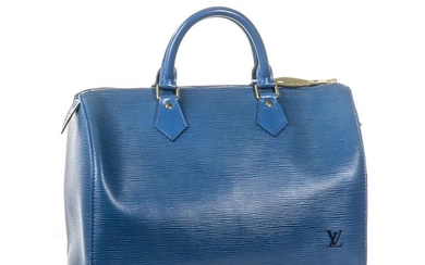 LOUIS VUITTON Sac SPEEDY, cuir Epi bleu,…