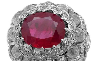 White Gold Dome Ring Set with an Oval Ruby and Diamonds