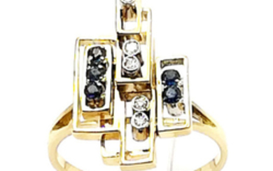 Women's ring in 18 kt yellow gold with sapphires, approx. 0.18 ct, and brilliant cut diamonds, G/VS, 0.06 ct - size 24