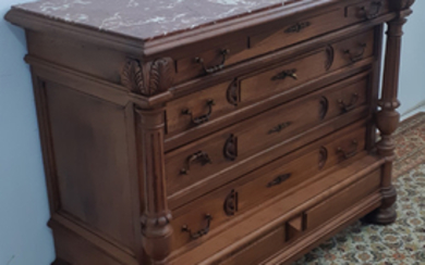 FRENCH HENRI II STYLE WALNUT M/TOP COMMODE