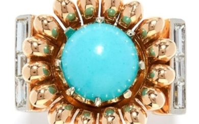 VINTAGE TURQUOISE AND DIAMOND DRESS RING in yellow