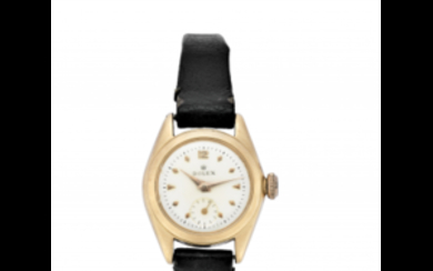 ROLEX Lady's 18K gold wristwatch 1950s Dial, movement and...