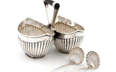 A Victorian silver double cream and sugar bowl, by…