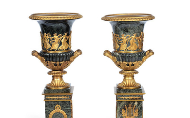 A pair of impressive late 19th century French gilt bronze mounted verdi antico marble garniture urns