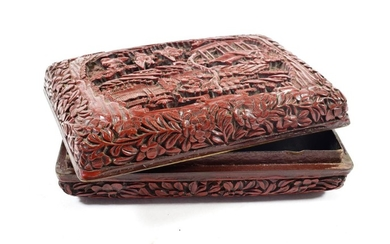 A Chinese Cinnabar Lacquer Box and Cover, bears Qianlong reign...