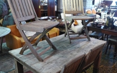 Lot-Art   A weathered teak garden table, together with four ...
