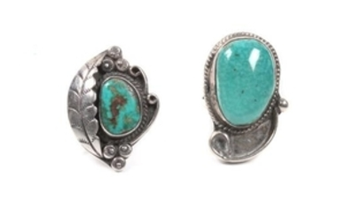 Two Southwestern Silver and Turquoise Rings