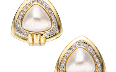 Mabe Pearl, Diamond, Gold Earrings The earrings feature mabe...