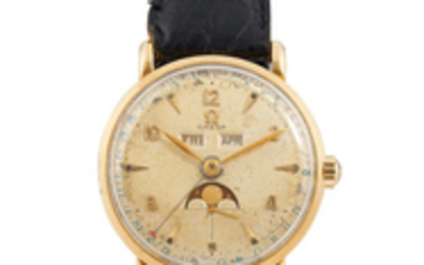 Omega. A Yellow Gold Triple Calendar Wristwatch with Moon-Phases