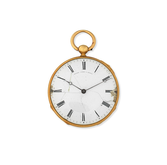 Muller Junod A Geneve. A continental gold key wind open face repeating pocket watch