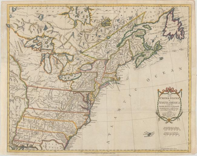 "One of the Earliest English-Produced Maps to Acknowledge the United States, ""Map of the United States in North America: with the British, French and Spanish Dominions Adjoining, According to the Treaty of 1783"", Kitchin, Thomas"