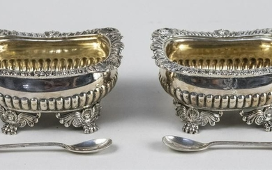 Pair of English Georgian Silver Salts