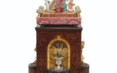 A GOLD, GEM, AND HARDSTONE-MOUNTED RHODOCHROSITE MUSICAL CLOCK ON ARCHITECTURAL WOOD TOWER, MARK OF ANDREAS VON ZADORA-GERLOF, 1996