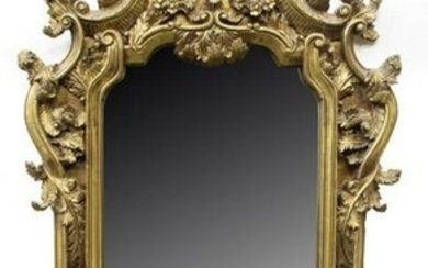"""FRENCH HEAVILY CARVED GILTWOOD WALL MIRROR, 65""""H"""