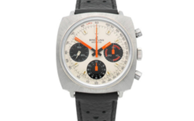 Breitling. A stainless steel manual wind cushion form chronograph wristwatch