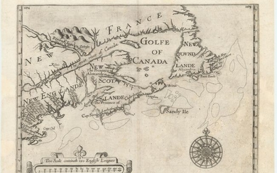 """The First Map to Name New Scotland, """"[Untitled - Northeastern United States & Canada]"""", Alexander, William (Sir)"""