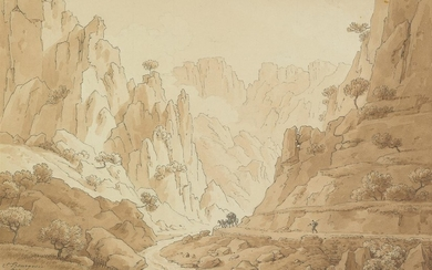 FLORENT FIDÈLE CONSTANT BOURGEOIS (Paris 1767 1841 Paris) A View of the Gorge of Ollioule near Toulon.