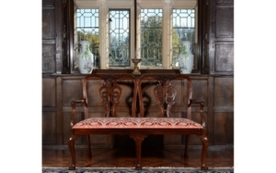 A George II mahogany chair back settee