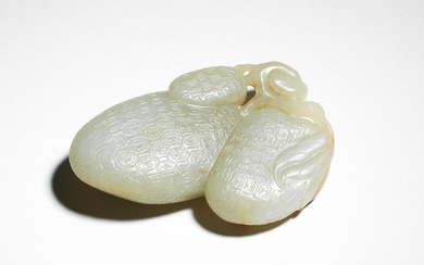 A pale green jade carving of lychee