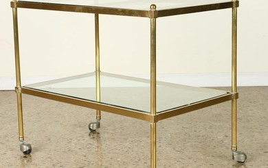TWO TIER BRASS AND GLASS BAR CART C.1970