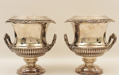 ENGLISH VICTORIAN SILVER PLATE WINE COOLERS