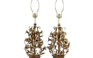 Gilt Iron Floral Lamps - Pair