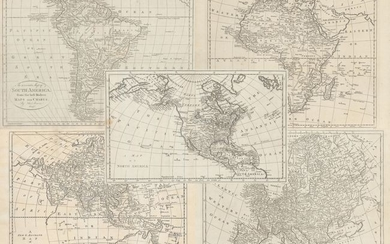 """[Lot of 5] A Map of North America [and] An Accurate Map of South America [and] A New and Accurate Map of Africa [and] A New & Accurate Map of Asia [and] A New & Accurate Map of Europe"", Bowen, Thomas"