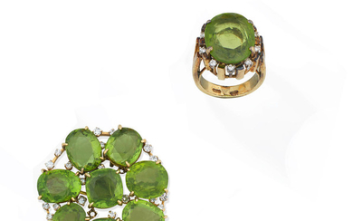 A mid-20th century peridot and diamond brooch/pendant and a peridot and diamond ring