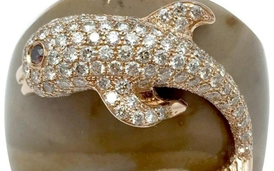 Pink Gold Paolobongia Dolphin Ring Set with Diamonds,