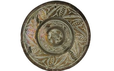 Plate Large plate with wide brim, hollow base. Majolica decorated...