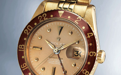 Rolex, Ref. 6542 A highly exclusive, important and exceptionally well-preserved yellow gold dual time wristwatch with date, bakelite bezel and bracelet