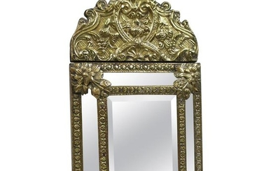 Small 19th Century French Repoussé Brass Cushion Mirror