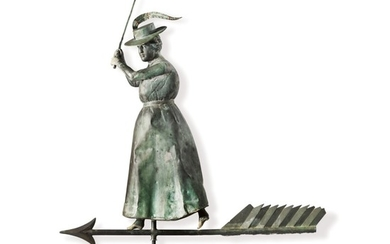 VERY FINE AND RARE MOLDED FULL BODIED SHEET COPPER AND ZINC STANDING FEMALE GOLFER WEATHERVANE, CIRCA 1900