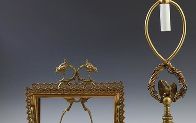 Four Piece French Gilt Bronze Desk Set, early 20th c.,