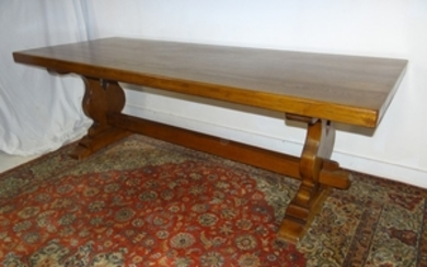 LARGE FRENCH SOLID OAK REFECTORY TABLE